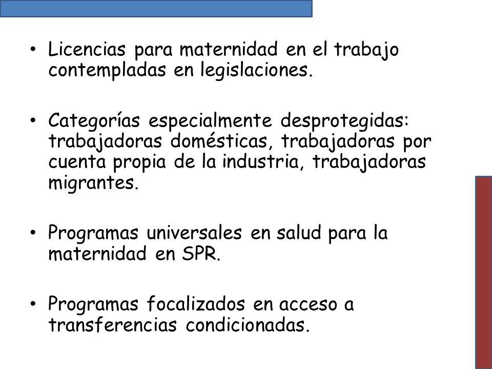Licencias para maternidad en el trabajo contempladas en legislaciones. Categorías especialmente desprotegidas: trabajadoras domésticas, trabajadoras p