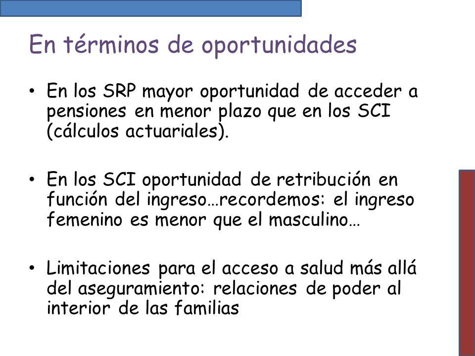 En términos de oportunidades En los SRP mayor oportunidad de acceder a pensiones en menor plazo que en los SCI (cálculos actuariales). En los SCI opor