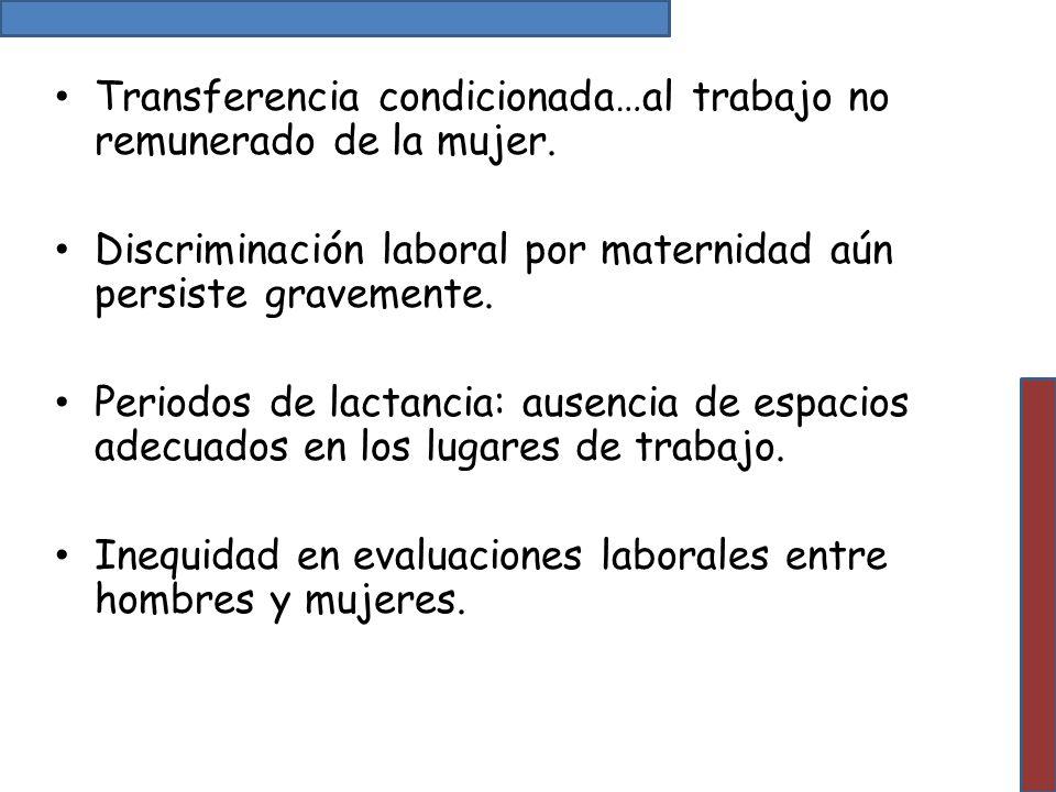 Transferencia condicionada…al trabajo no remunerado de la mujer. Discriminación laboral por maternidad aún persiste gravemente. Periodos de lactancia: