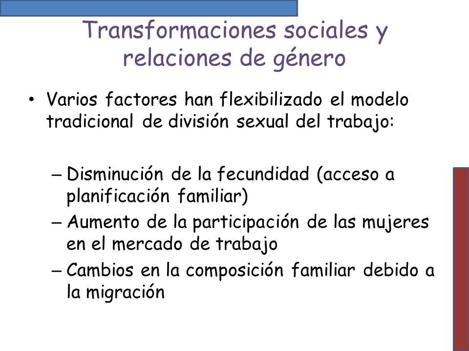 Transformaciones sociales y relaciones de género Varios factores han flexibilizado el modelo tradicional de división sexual del trabajo: – Disminución
