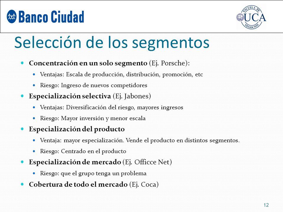 Selección de los segmentos Concentración en un solo segmento (Ej.