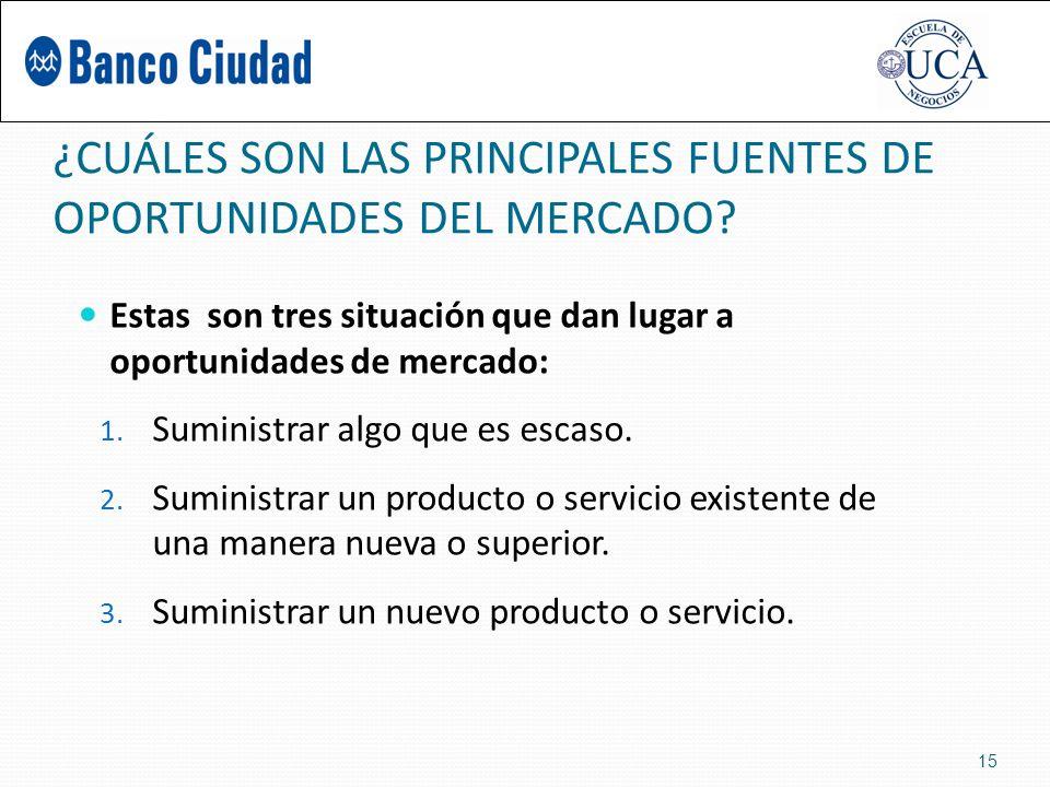 ¿CUÁLES SON LAS PRINCIPALES FUENTES DE OPORTUNIDADES DEL MERCADO.