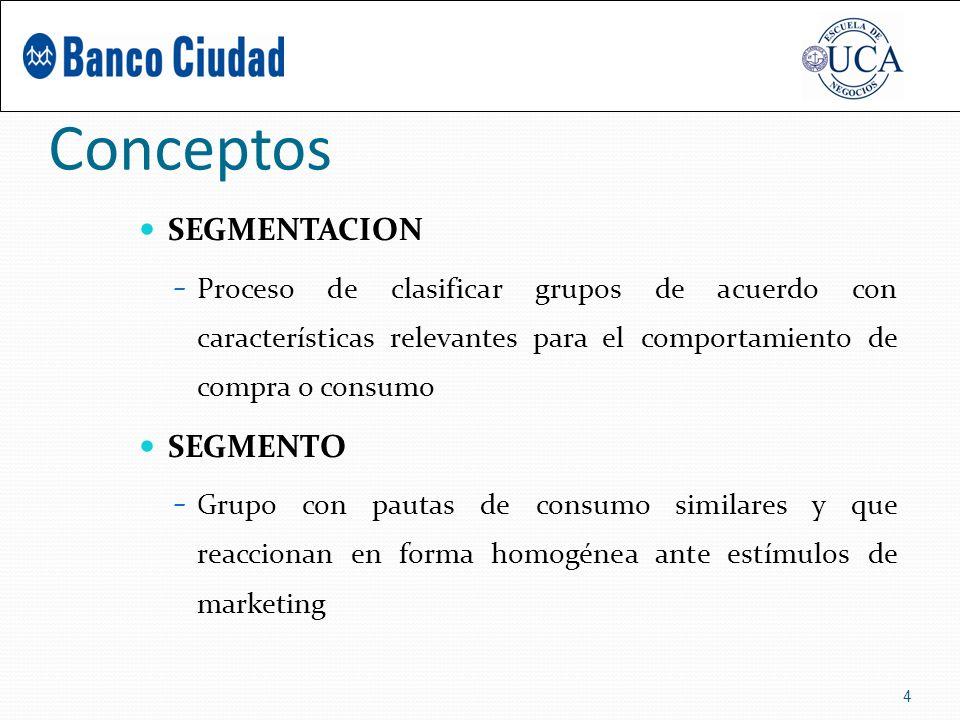 Conceptos SEGMENTACION – Proceso de clasificar grupos de acuerdo con características relevantes para el comportamiento de compra o consumo SEGMENTO – Grupo con pautas de consumo similares y que reaccionan en forma homogénea ante estímulos de marketing 4