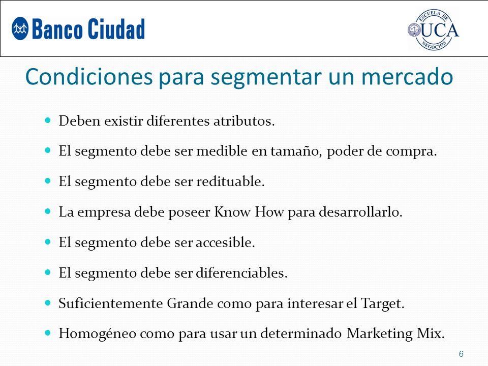 Condiciones para segmentar un mercado Deben existir diferentes atributos.