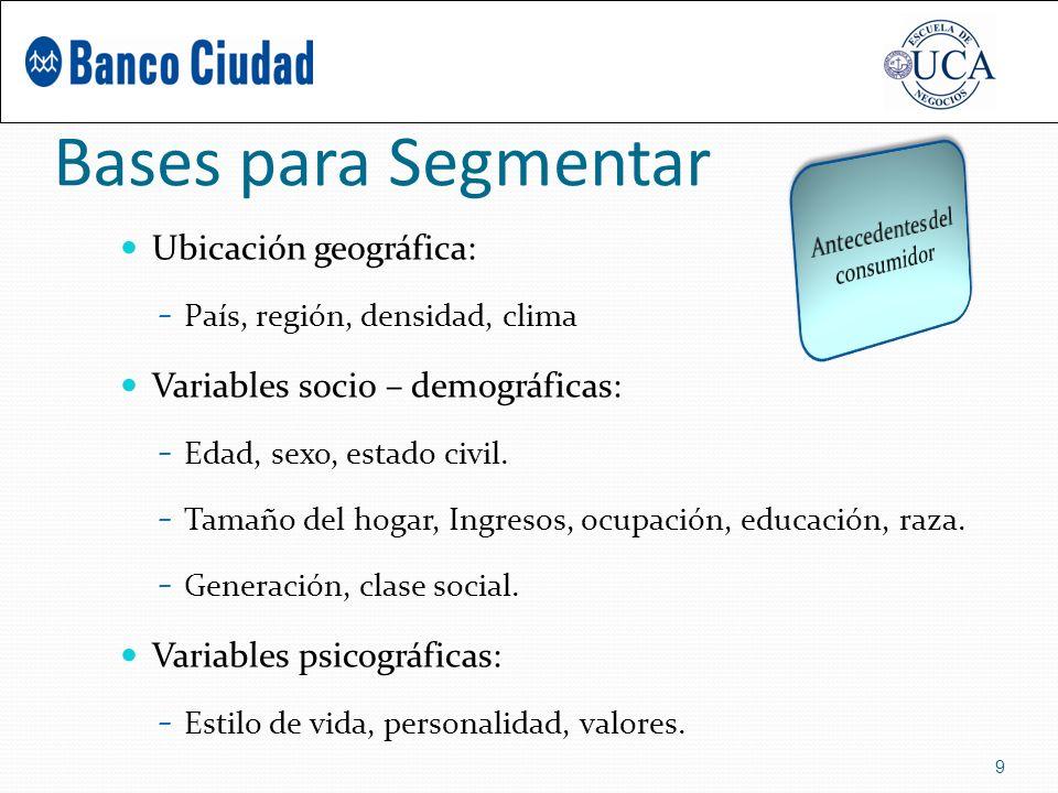 Bases para Segmentar Ubicación geográfica: – País, región, densidad, clima Variables socio – demográficas: – Edad, sexo, estado civil.