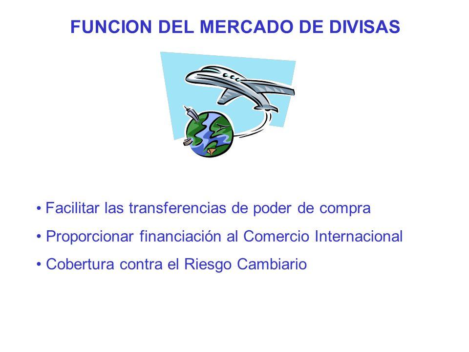 FUNCION DEL MERCADO DE DIVISAS Facilitar las transferencias de poder de compra Proporcionar financiación al Comercio Internacional Cobertura contra el Riesgo Cambiario