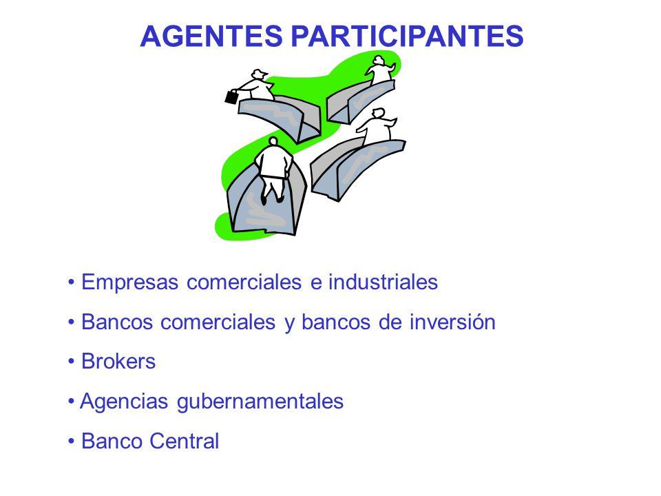 AGENTES PARTICIPANTES Empresas comerciales e industriales Bancos comerciales y bancos de inversión Brokers Agencias gubernamentales Banco Central
