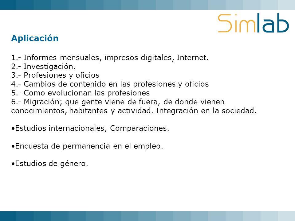 Aplicación 1.- Informes mensuales, impresos digitales, Internet. 2.- Investigación. 3.- Profesiones y oficios 4.- Cambios de contenido en las profesio