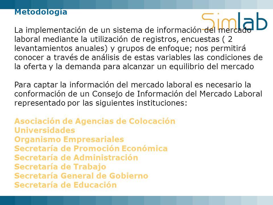 Metodología La implementación de un sistema de información del mercado laboral mediante la utilización de registros, encuestas ( 2 levantamientos anua