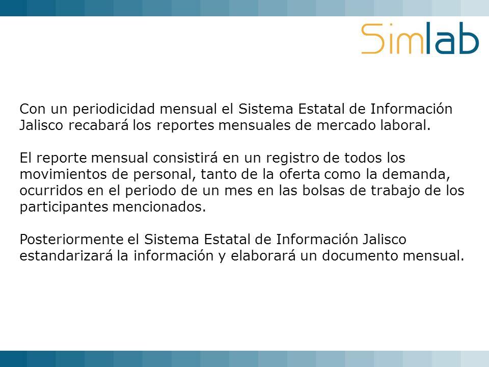 Con un periodicidad mensual el Sistema Estatal de Información Jalisco recabará los reportes mensuales de mercado laboral. El reporte mensual consistir