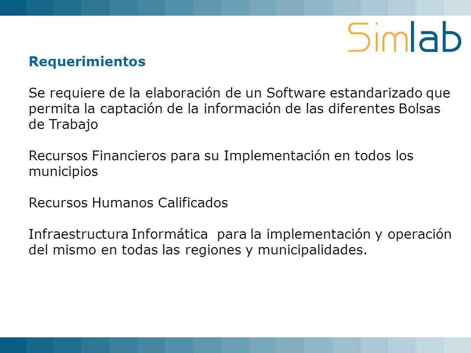 Requerimientos Se requiere de la elaboración de un Software estandarizado que permita la captación de la información de las diferentes Bolsas de Traba