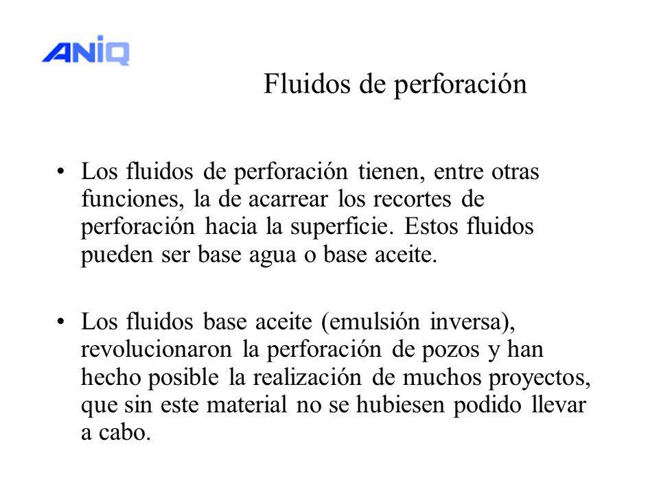 Fluidos de perforación Los fluidos de perforación tienen, entre otras funciones, la de acarrear los recortes de perforación hacia la superficie. Estos