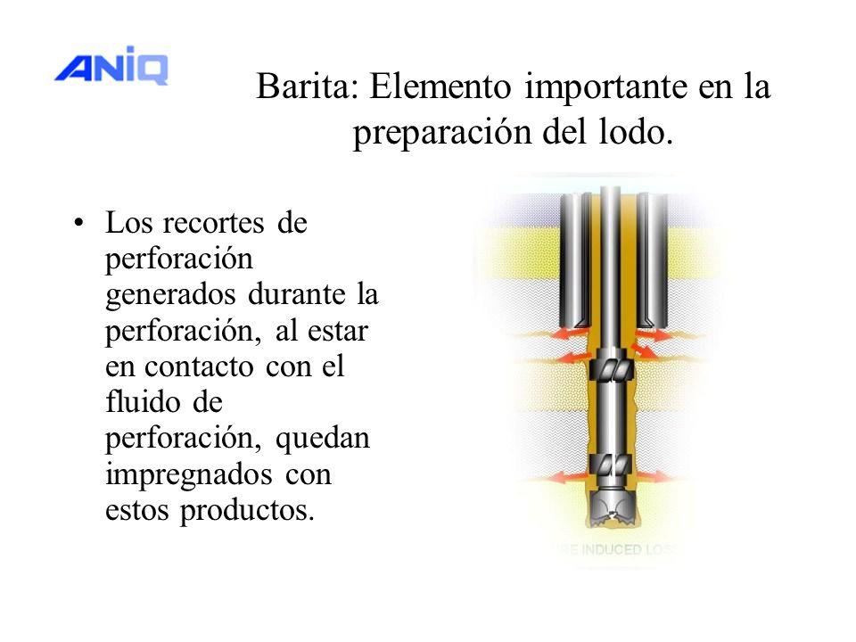 Barita: Elemento importante en la preparación del lodo. Los recortes de perforación generados durante la perforación, al estar en contacto con el flui