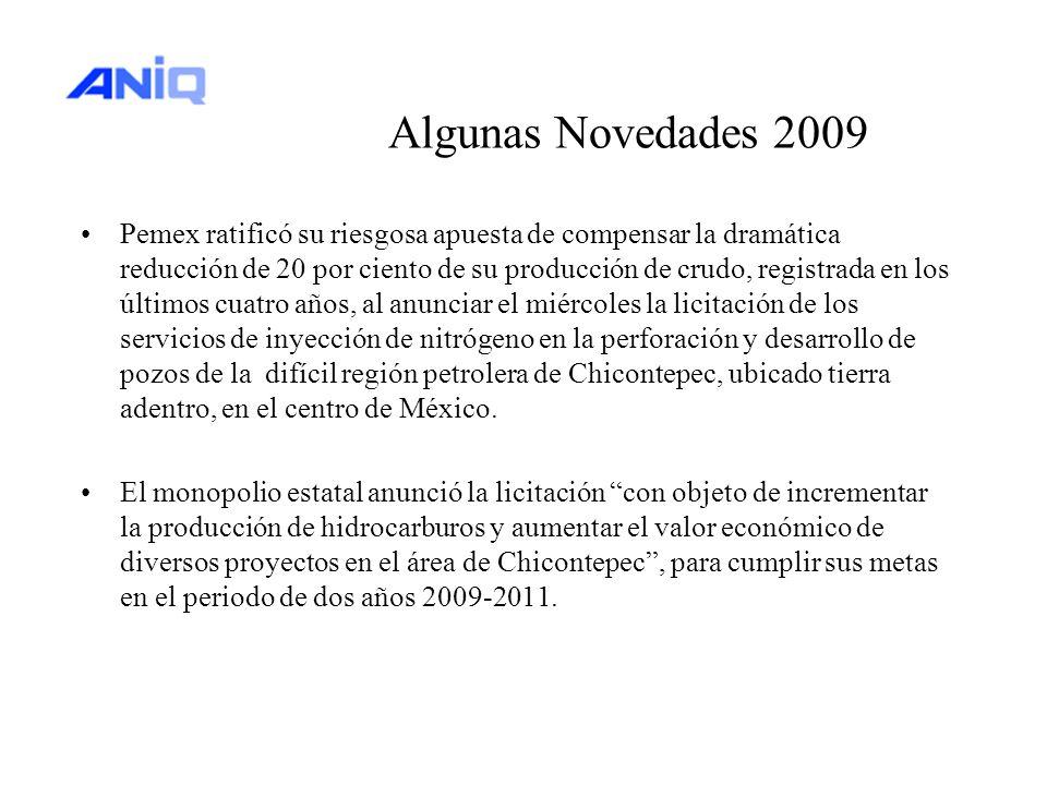 Algunas Novedades 2009 Pemex ratificó su riesgosa apuesta de compensar la dramática reducción de 20 por ciento de su producción de crudo, registrada e