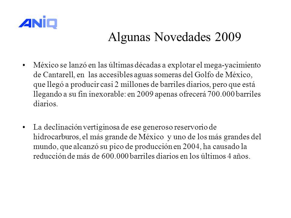Algunas Novedades 2009 México se lanzó en las últimas décadas a explotar el mega-yacimiento de Cantarell, en las accesibles aguas someras del Golfo de