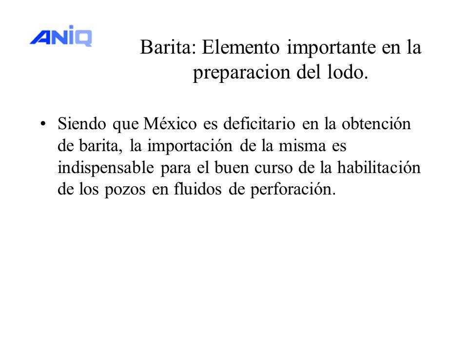 Barita: Elemento importante en la preparacion del lodo. Siendo que México es deficitario en la obtención de barita, la importación de la misma es indi