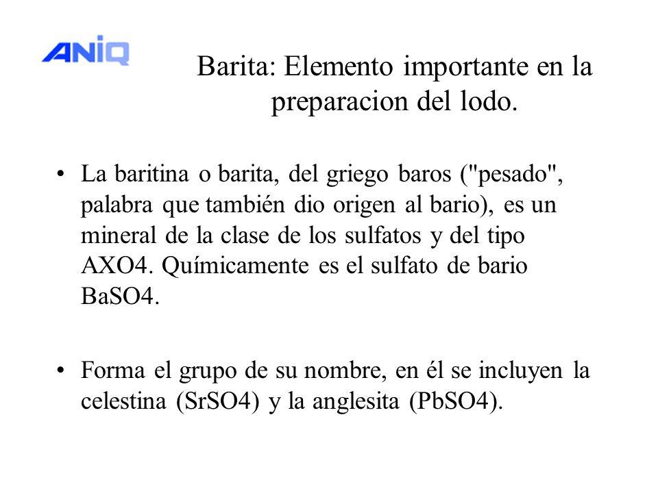 Barita: Elemento importante en la preparacion del lodo. La baritina o barita, del griego baros (