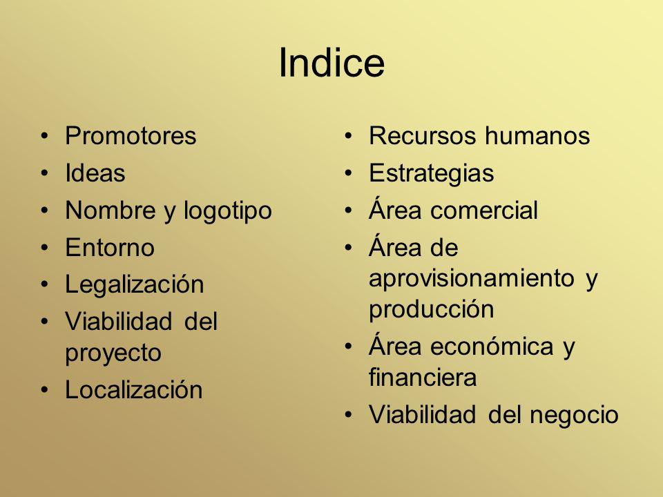Indice Promotores Ideas Nombre y logotipo Entorno Legalización Viabilidad del proyecto Localización Recursos humanos Estrategias Área comercial Área d