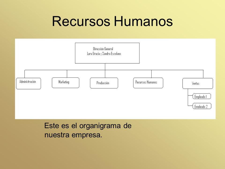 Recursos Humanos Este es el organigrama de nuestra empresa.