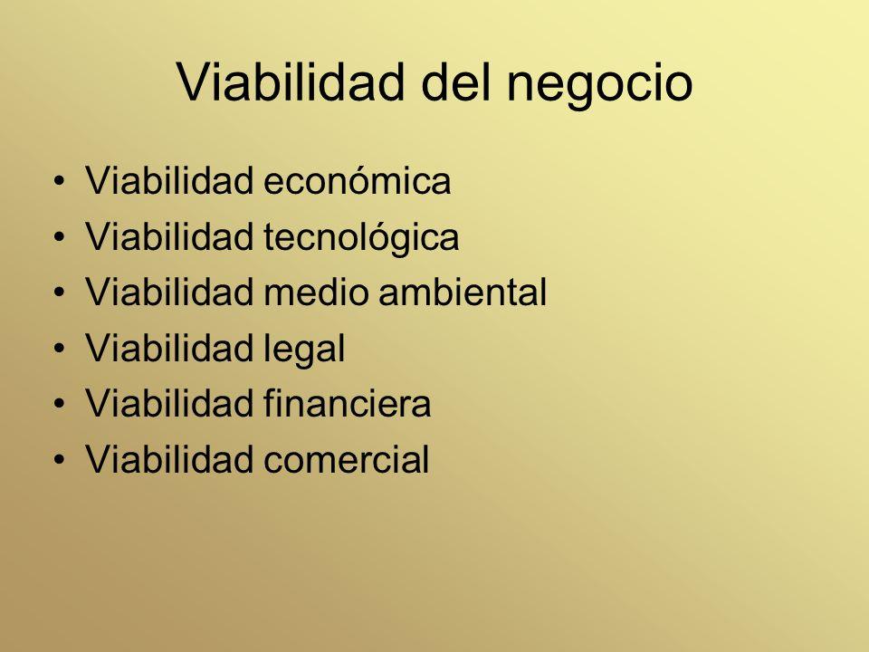 Viabilidad del negocio Viabilidad económica Viabilidad tecnológica Viabilidad medio ambiental Viabilidad legal Viabilidad financiera Viabilidad comerc