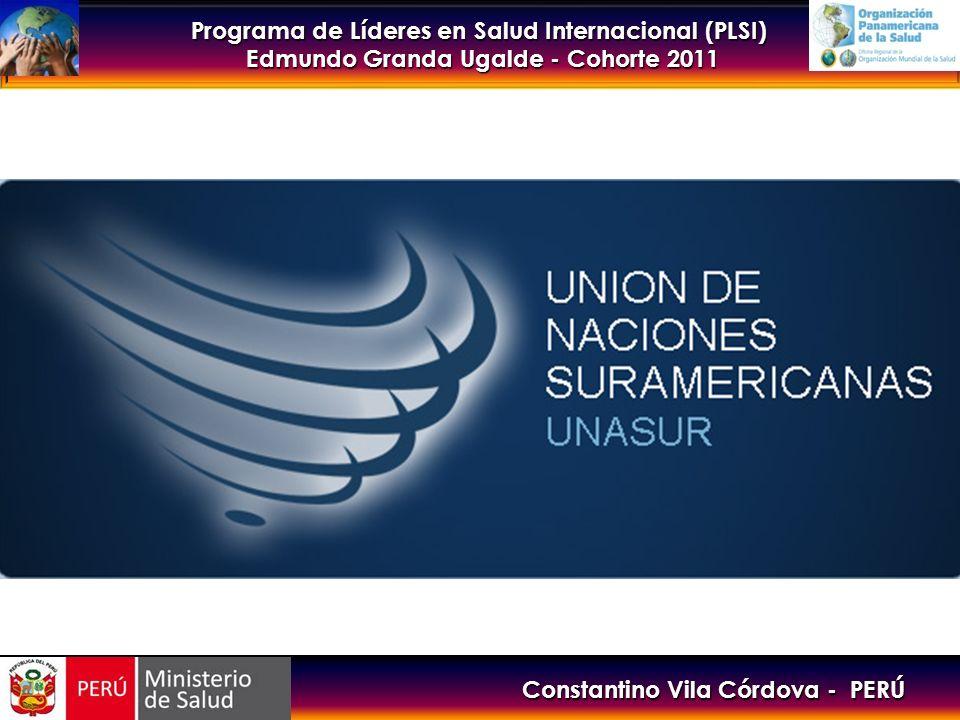 Programa de Líderes en Salud Internacional (PLSI) Edmundo Granda Ugalde - Cohorte 2011 UNASUR SALUD Prioridad política de los países de América del Sur para: Contribuir, desde los avances en salud, a consolidar el proceso de integración sudamericana.