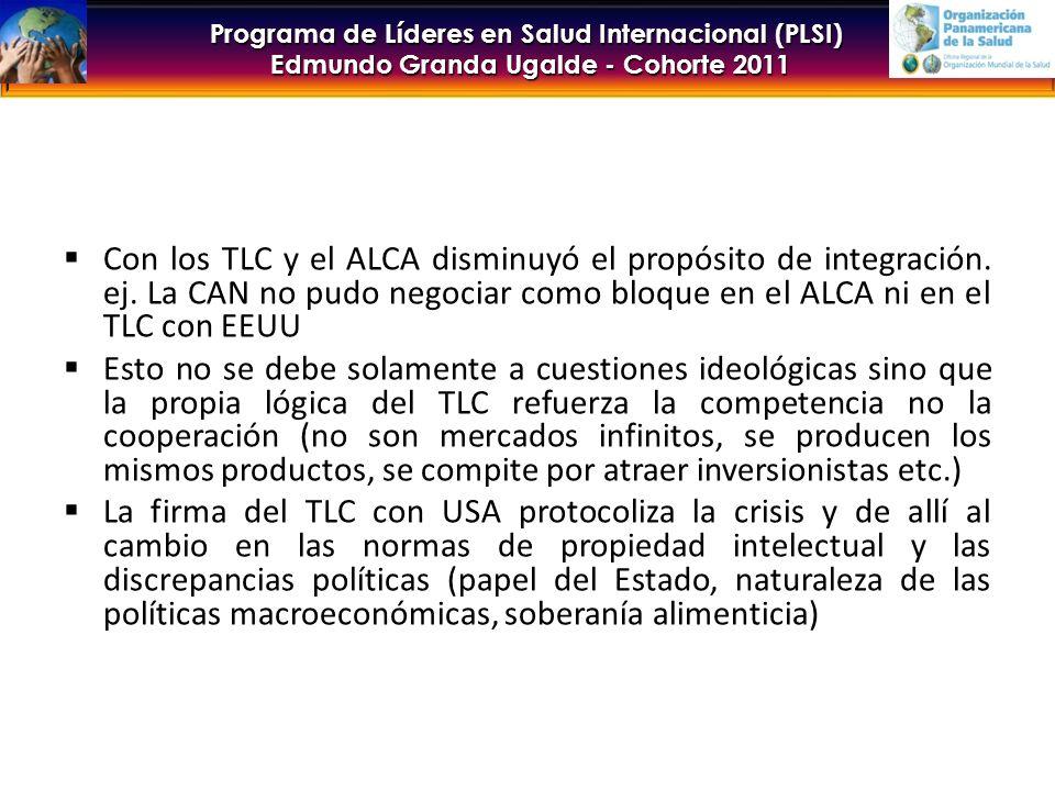 Programa de Líderes en Salud Internacional (PLSI) Edmundo Granda Ugalde - Cohorte 2011 Con los TLC y el ALCA disminuyó el propósito de integración.