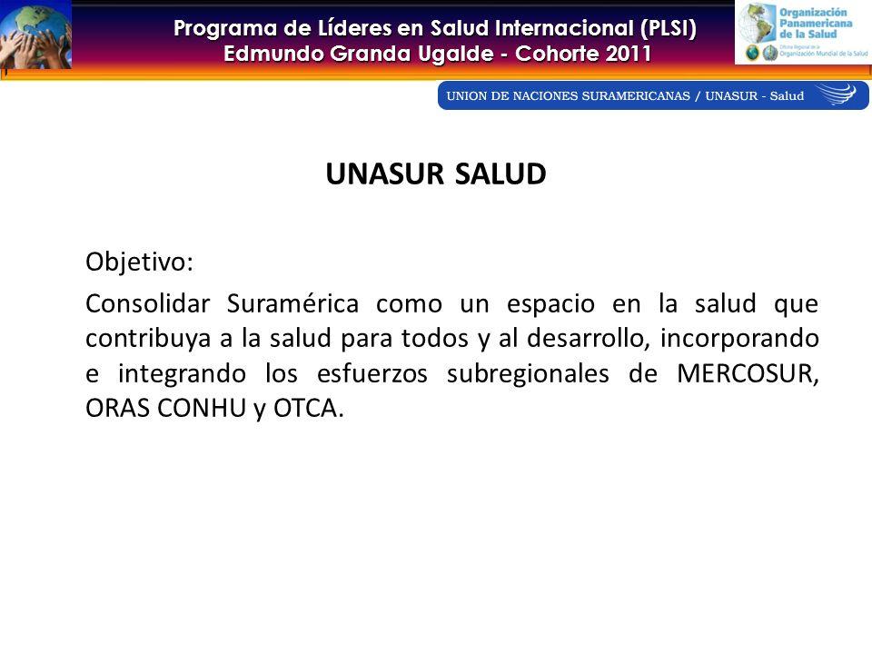 Programa de Líderes en Salud Internacional (PLSI) Edmundo Granda Ugalde - Cohorte 2011 UNASUR SALUD Objetivo: Consolidar Suramérica como un espacio en la salud que contribuya a la salud para todos y al desarrollo, incorporando e integrando los esfuerzos subregionales de MERCOSUR, ORAS CONHU y OTCA.