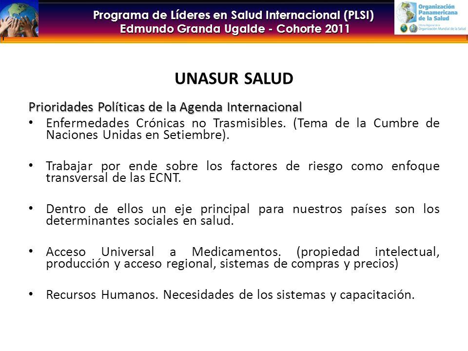 Programa de Líderes en Salud Internacional (PLSI) Edmundo Granda Ugalde - Cohorte 2011 UNASUR SALUD Prioridades Políticas de la Agenda Internacional Enfermedades Crónicas no Trasmisibles.