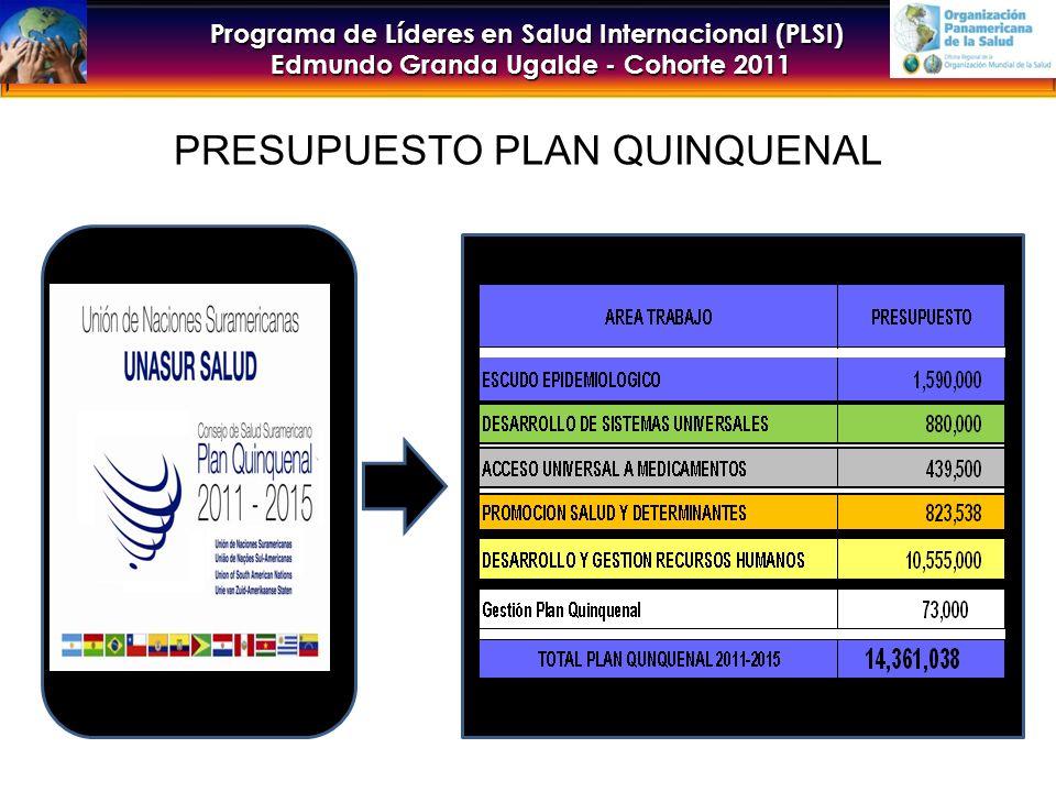 Programa de Líderes en Salud Internacional (PLSI) Edmundo Granda Ugalde - Cohorte 2011 PRESUPUESTO PLAN QUINQUENAL