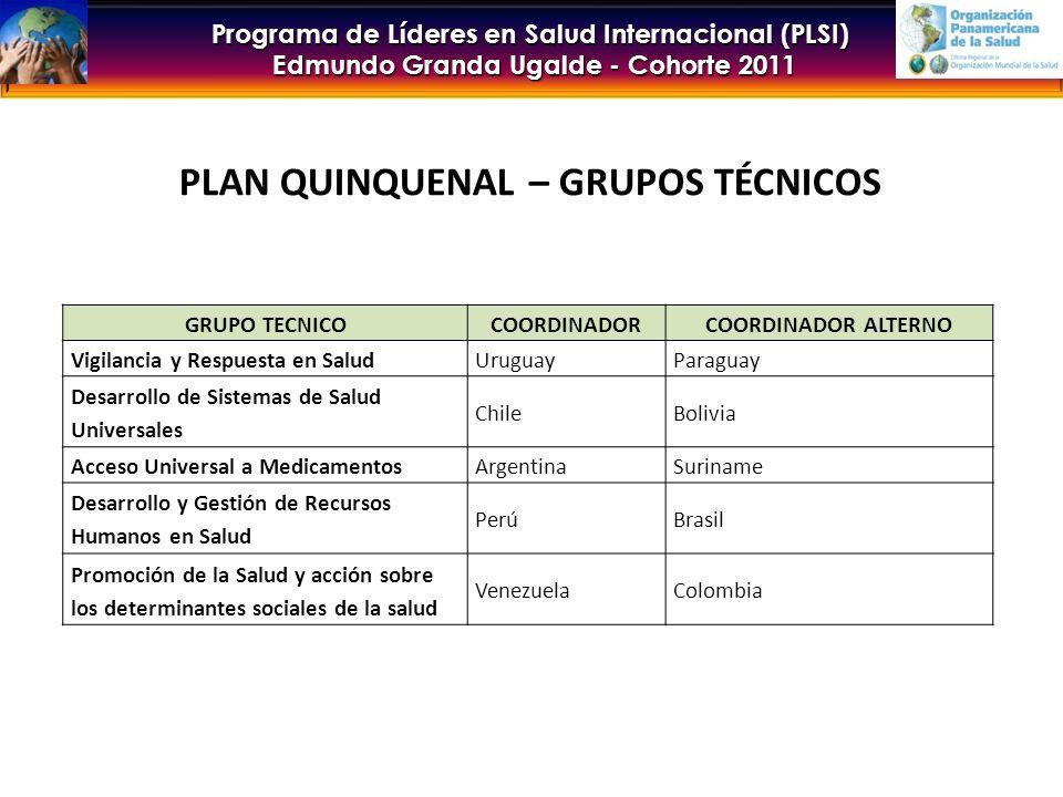 Programa de Líderes en Salud Internacional (PLSI) Edmundo Granda Ugalde - Cohorte 2011 PLAN QUINQUENAL – GRUPOS TÉCNICOS GRUPO TECNICOCOORDINADORCOORDINADOR ALTERNO Vigilancia y Respuesta en SaludUruguayParaguay Desarrollo de Sistemas de Salud Universales ChileBolivia Acceso Universal a MedicamentosArgentinaSuriname Desarrollo y Gestión de Recursos Humanos en Salud PerúBrasil Promoción de la Salud y acción sobre los determinantes sociales de la salud VenezuelaColombia