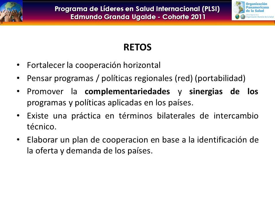 Programa de Líderes en Salud Internacional (PLSI) Edmundo Granda Ugalde - Cohorte 2011 RETOS Fortalecer la cooperación horizontal Pensar programas / políticas regionales (red) (portabilidad) Promover la complementariedades y sinergias de los programas y políticas aplicadas en los países.