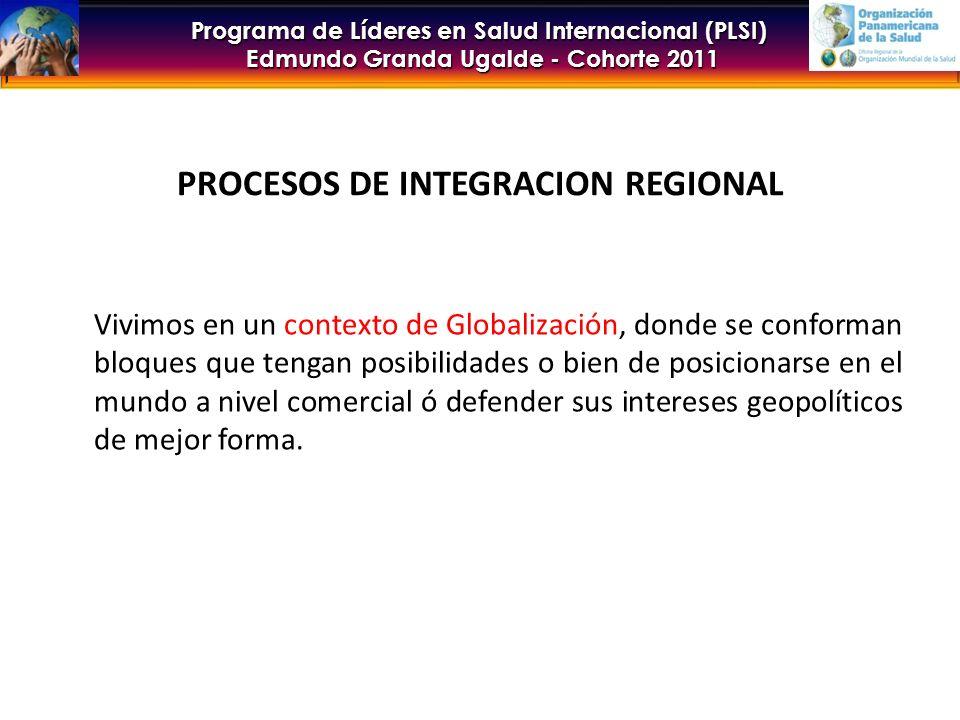 Programa de Líderes en Salud Internacional (PLSI) Edmundo Granda Ugalde - Cohorte 2011 PROCESOS DE INTEGRACION REGIONAL A nivel latinoamericano, los procesos de integración se iniciaron a partir de la formación de la Asociación Latinoamericana de Libre Comercio (ALALC) en 1960 Se fueron generando otros bloques regionales y subregionales desde entonces: El mismo año 1960 se conformó el Mercado Común Centroamericano que luego en 1990 se convirtiera en el Sistema Económico Centroamericano (SIECA) En 1969 se creó la Comunidad Andina de Naciones (CAN) El año 1980 nace ALADI (Asociación Latinoamericana de Integración) En 1991 nació el MERCOSUR El ALBA fue conformado en 2004 El año 2008 se conformó UNASUR