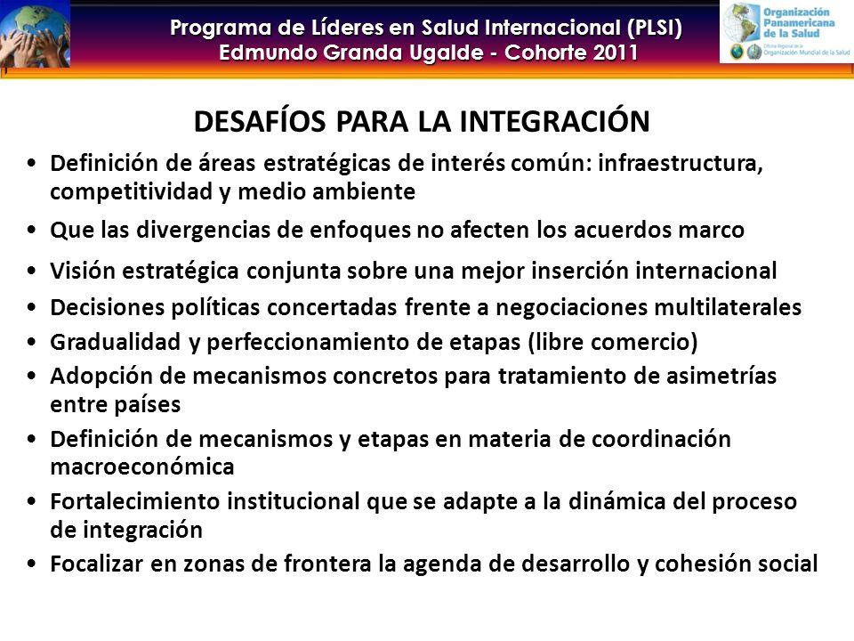 Programa de Líderes en Salud Internacional (PLSI) Edmundo Granda Ugalde - Cohorte 2011 DESAFÍOS PARA LA INTEGRACIÓN Definición de áreas estratégicas de interés común: infraestructura, competitividad y medio ambiente Que las divergencias de enfoques no afecten los acuerdos marco Visión estratégica conjunta sobre una mejor inserción internacional Decisiones políticas concertadas frente a negociaciones multilaterales Gradualidad y perfeccionamiento de etapas (libre comercio) Adopción de mecanismos concretos para tratamiento de asimetrías entre países Definición de mecanismos y etapas en materia de coordinación macroeconómica Fortalecimiento institucional que se adapte a la dinámica del proceso de integración Focalizar en zonas de frontera la agenda de desarrollo y cohesión social