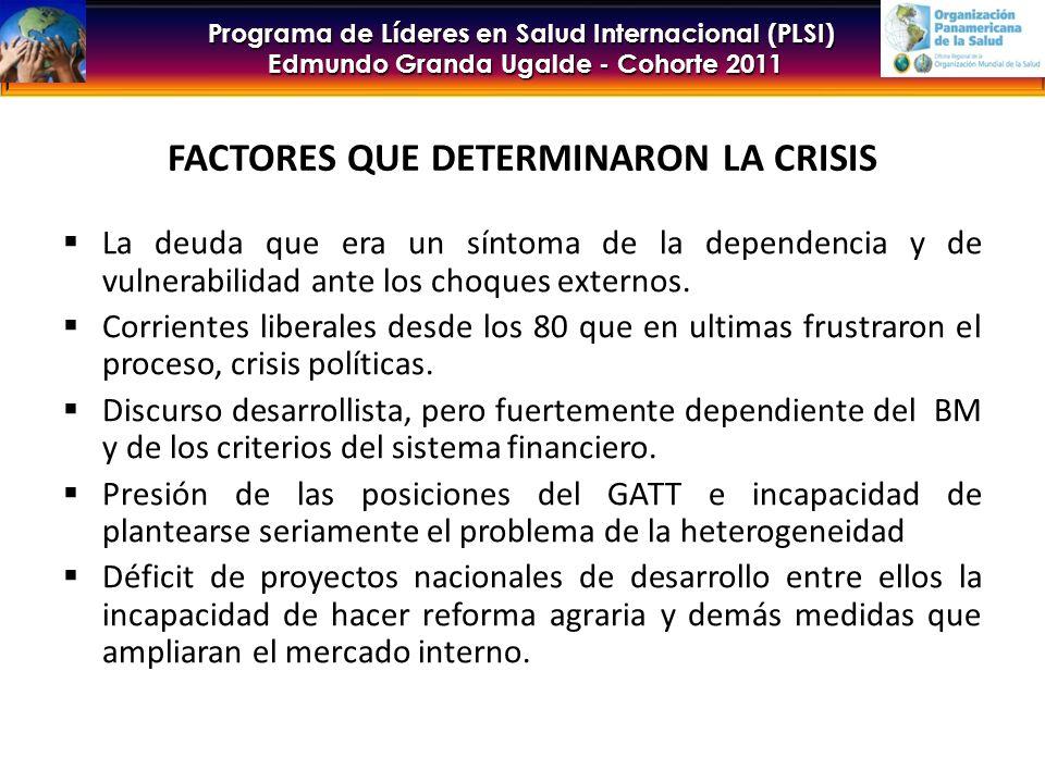 Programa de Líderes en Salud Internacional (PLSI) Edmundo Granda Ugalde - Cohorte 2011 FACTORES QUE DETERMINARON LA CRISIS La deuda que era un síntoma de la dependencia y de vulnerabilidad ante los choques externos.