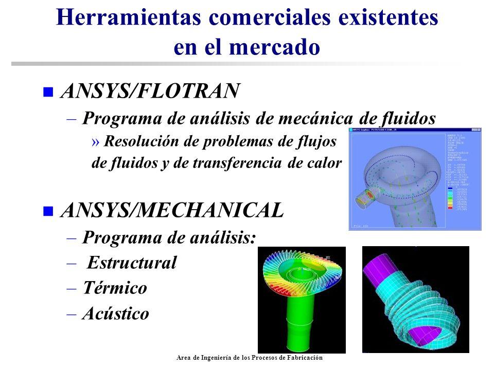 Area de Ingeniería de los Procesos de Fabricación Herramientas comerciales existentes en el mercado n ANSYS/FLOTRAN –Programa de análisis de mecánica