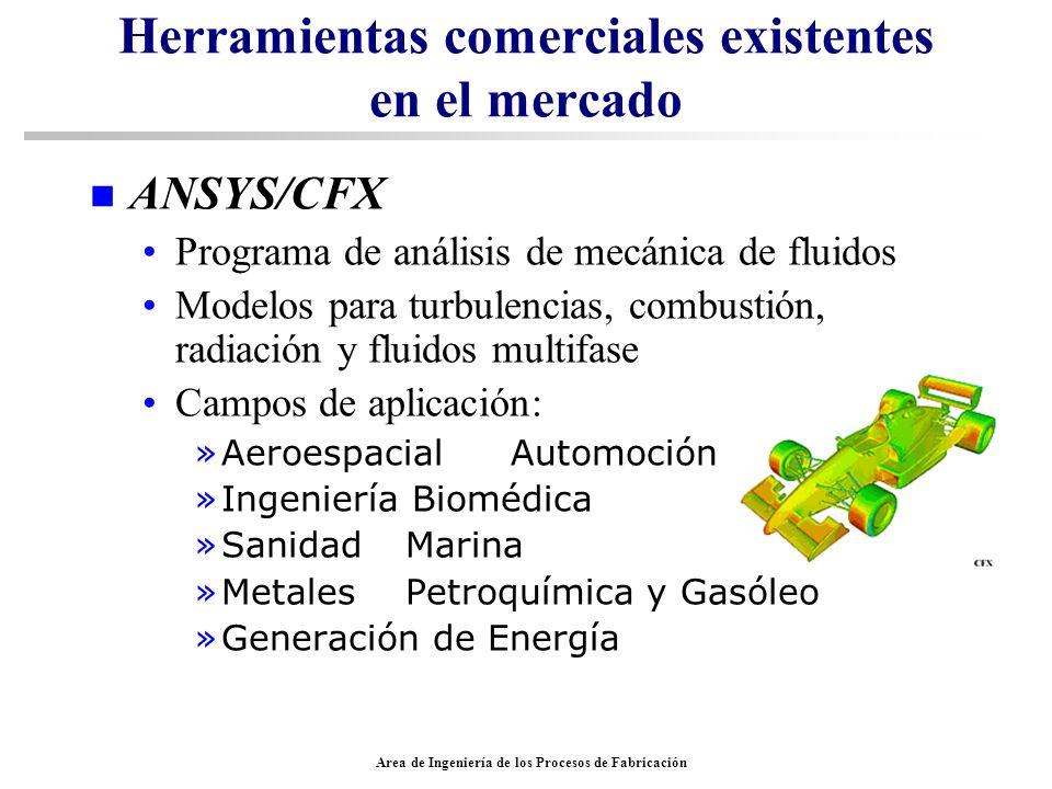 Area de Ingeniería de los Procesos de Fabricación Herramientas comerciales existentes en el mercado n ANSYS/CFX Programa de análisis de mecánica de fl