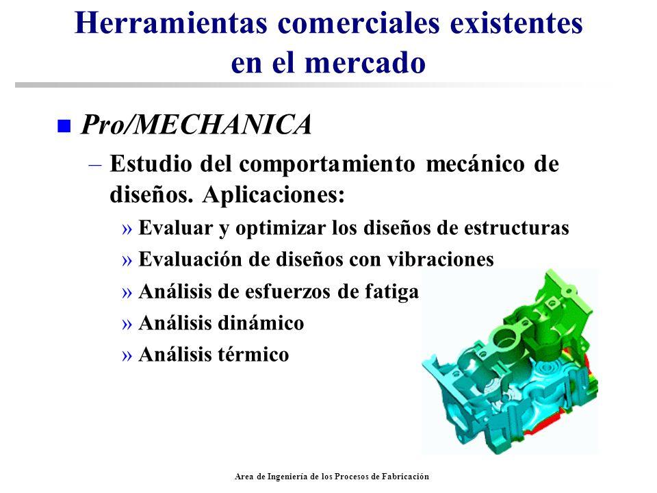 Area de Ingeniería de los Procesos de Fabricación Herramientas comerciales existentes en el mercado n Pro/MECHANICA –Estudio del comportamiento mecáni