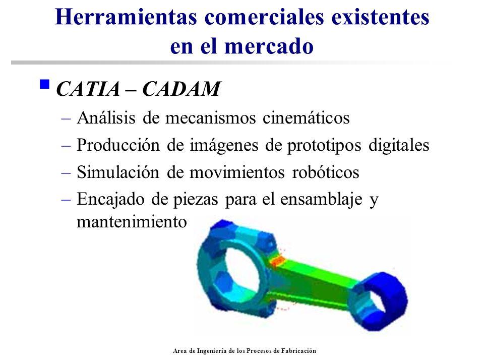 Area de Ingeniería de los Procesos de Fabricación Herramientas comerciales existentes en el mercado CATIA – CADAM –Análisis de mecanismos cinemáticos