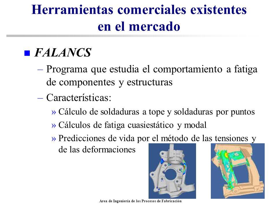 Area de Ingeniería de los Procesos de Fabricación Herramientas comerciales existentes en el mercado n FALANCS –Programa que estudia el comportamiento