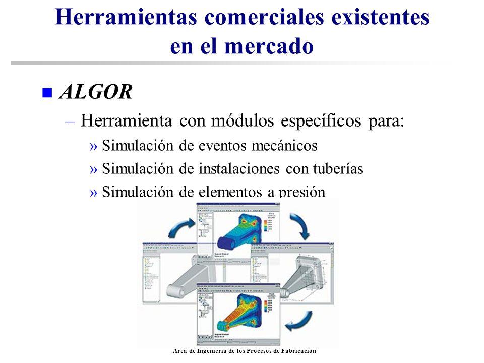 Area de Ingeniería de los Procesos de Fabricación Herramientas comerciales existentes en el mercado n ALGOR –Herramienta con módulos específicos para: