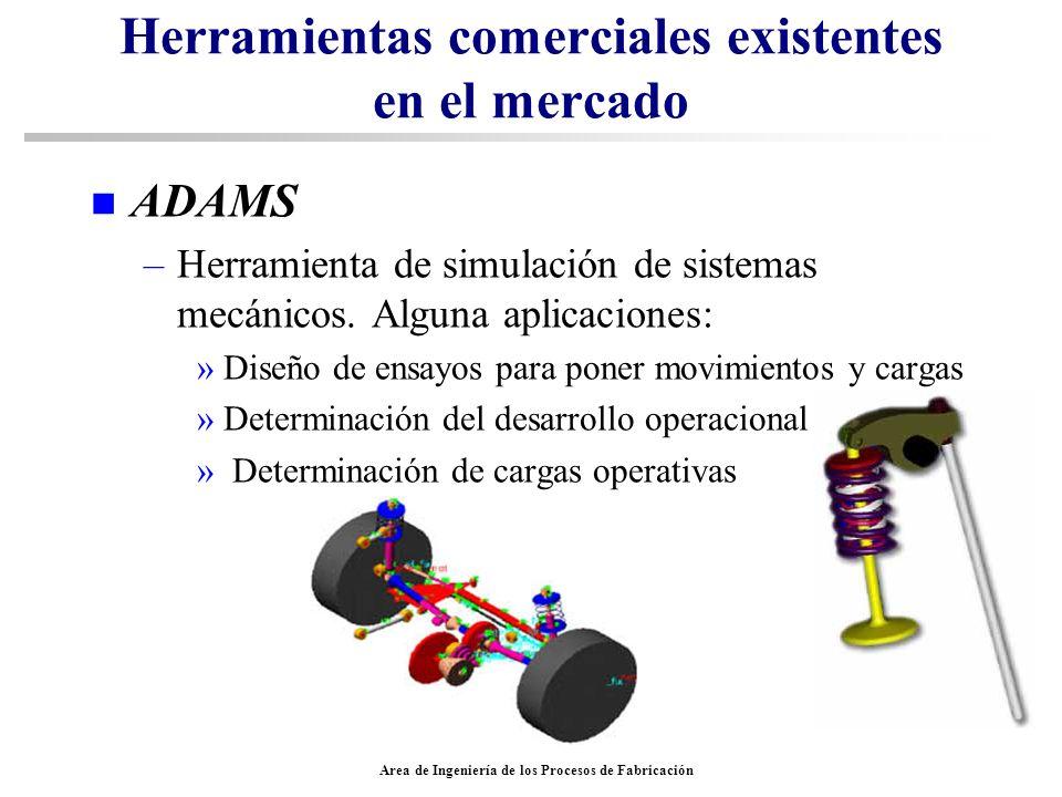 Area de Ingeniería de los Procesos de Fabricación Herramientas comerciales existentes en el mercado n ADAMS –Herramienta de simulación de sistemas mec