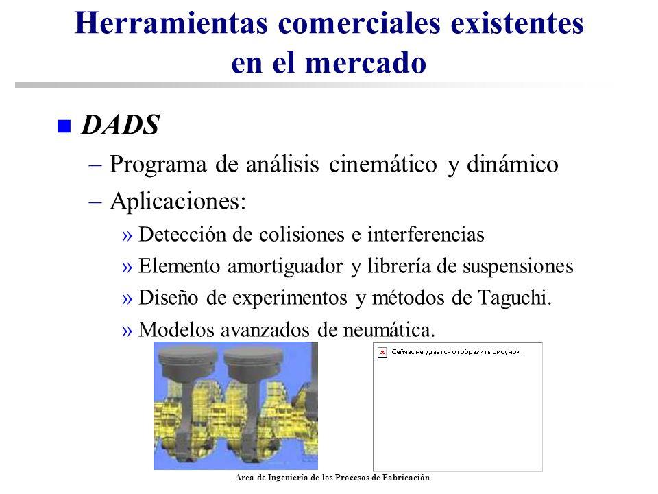 Area de Ingeniería de los Procesos de Fabricación Herramientas comerciales existentes en el mercado n DADS –Programa de análisis cinemático y dinámico