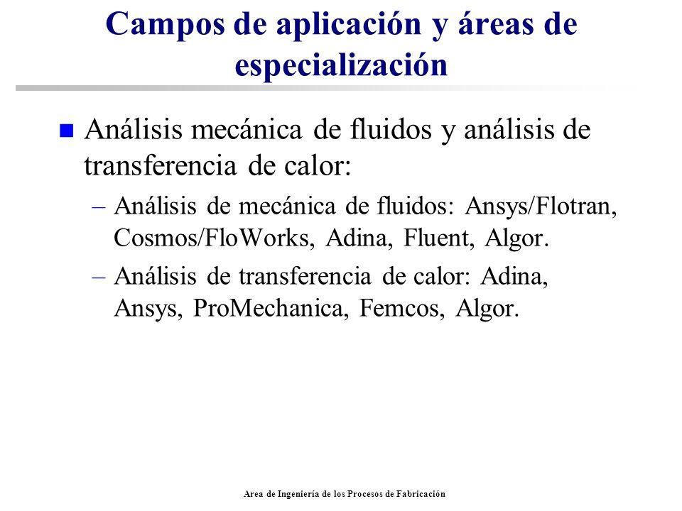 Area de Ingeniería de los Procesos de Fabricación Campos de aplicación y áreas de especialización n Análisis mecánica de fluidos y análisis de transfe