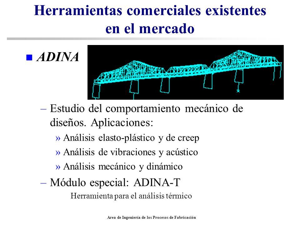 Area de Ingeniería de los Procesos de Fabricación Herramientas comerciales existentes en el mercado n ADINA –Estudio del comportamiento mecánico de di
