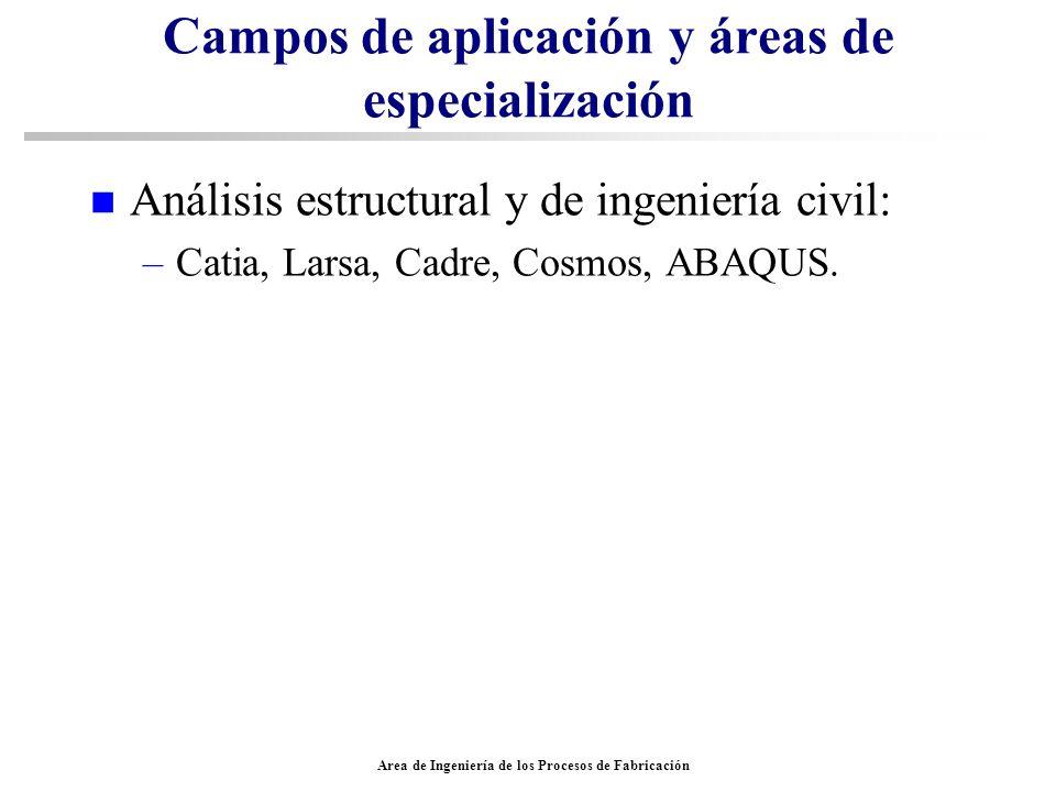 Area de Ingeniería de los Procesos de Fabricación Campos de aplicación y áreas de especialización n Análisis estructural y de ingeniería civil: –Catia