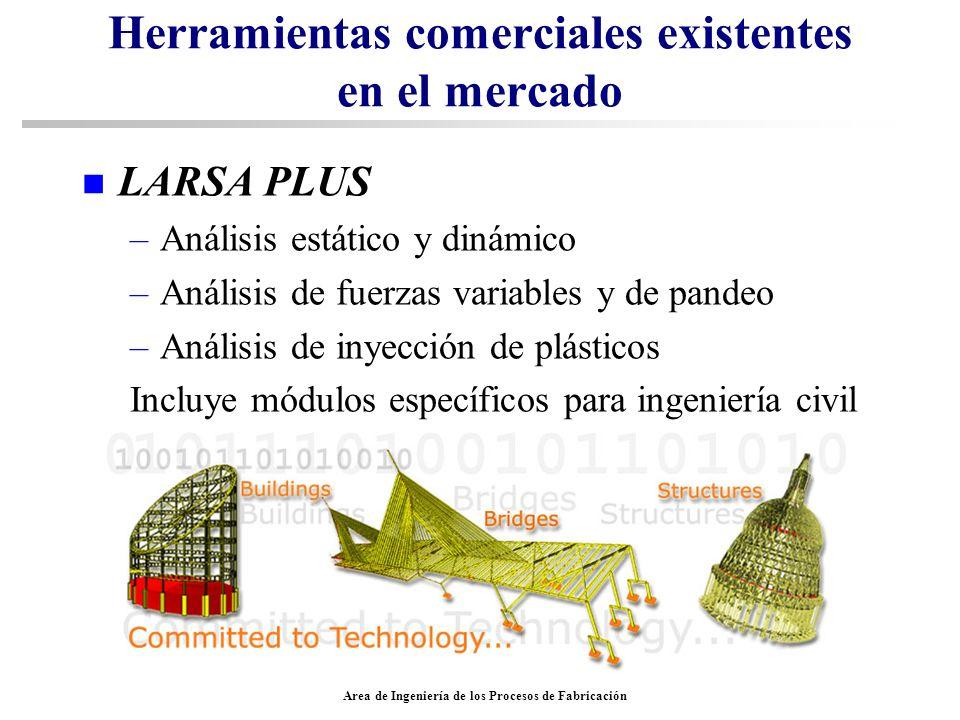 Area de Ingeniería de los Procesos de Fabricación Herramientas comerciales existentes en el mercado n LARSA PLUS –Análisis estático y dinámico –Anális