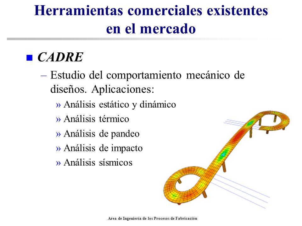 Area de Ingeniería de los Procesos de Fabricación Herramientas comerciales existentes en el mercado n CADRE –Estudio del comportamiento mecánico de di