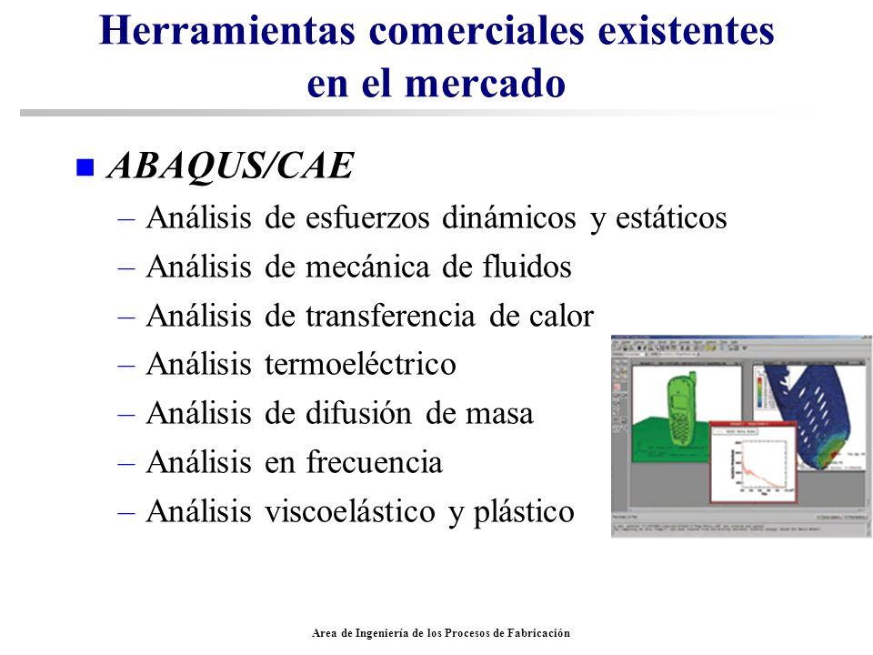 Area de Ingeniería de los Procesos de Fabricación Herramientas comerciales existentes en el mercado n ABAQUS/CAE –Análisis de esfuerzos dinámicos y es