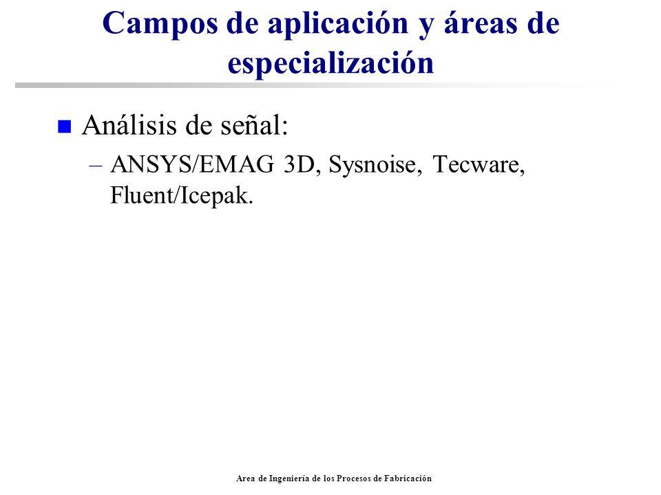 Area de Ingeniería de los Procesos de Fabricación Campos de aplicación y áreas de especialización n Análisis de señal: –ANSYS/EMAG 3D, Sysnoise, Tecwa