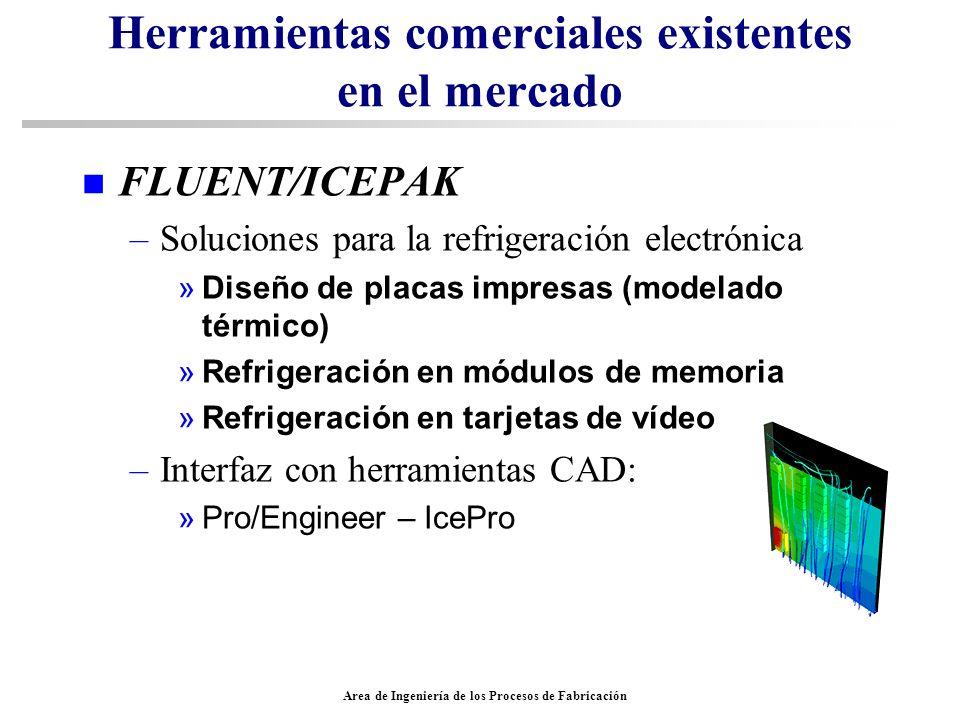 Area de Ingeniería de los Procesos de Fabricación Herramientas comerciales existentes en el mercado n FLUENT/ICEPAK –Soluciones para la refrigeración
